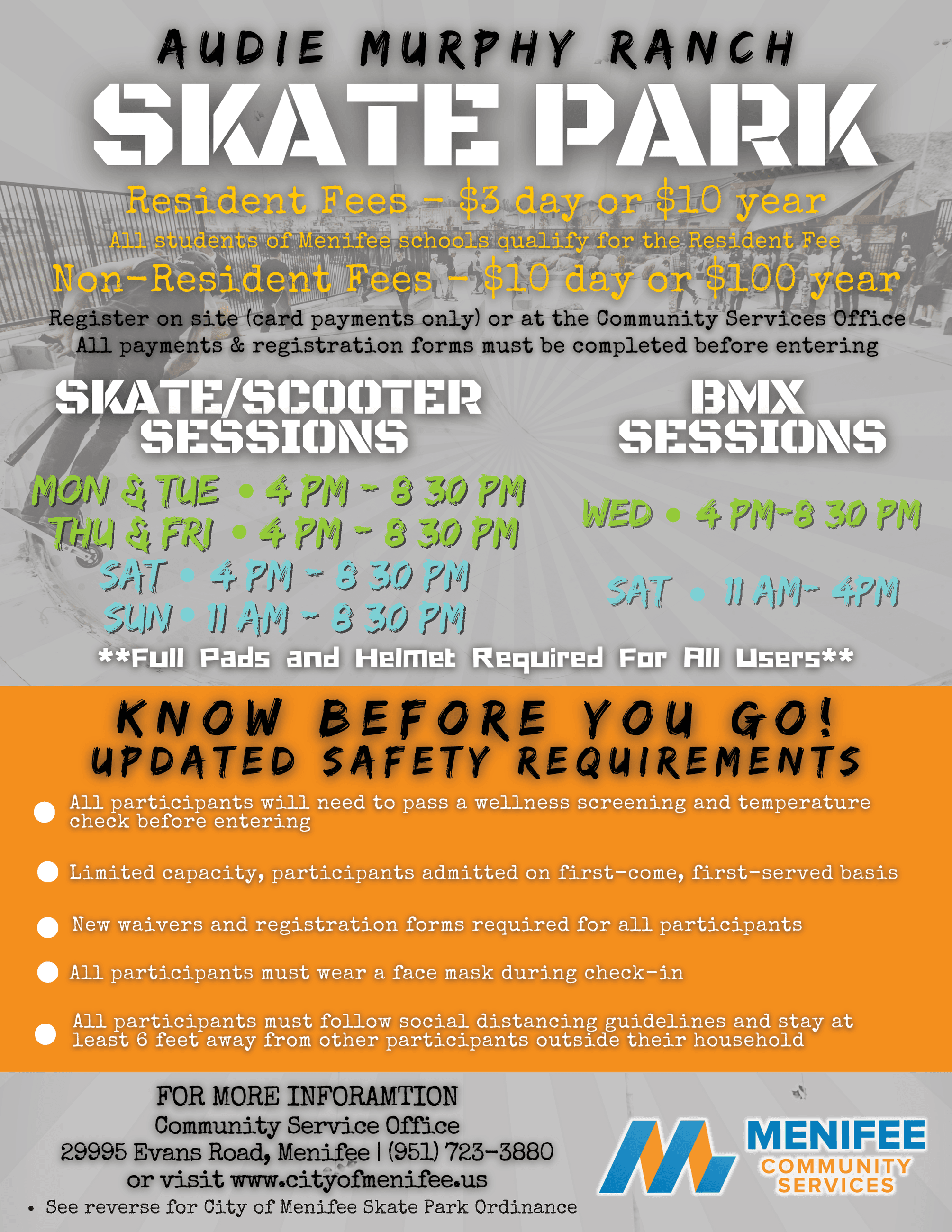 Skate Park Flyer with updated COVID-19 Guidelines & Hours.