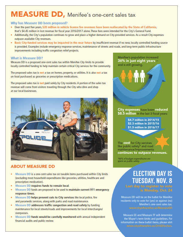 MeasureDD - Menifee's One Cent Sales Tax Flyer