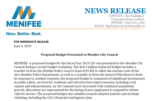 Proposed budget presented to city council