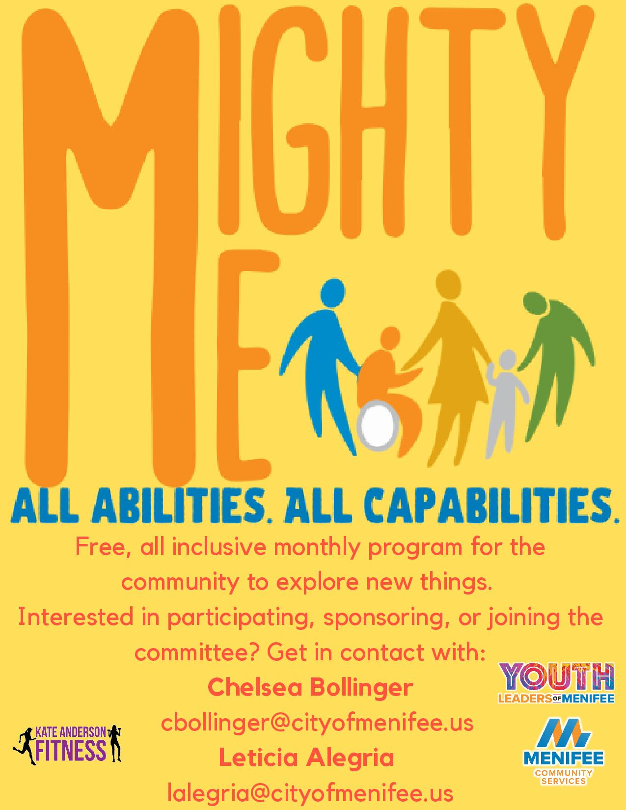 Mighty Me Program/Contact Information: Free, all inclusive monthly program for special needs!