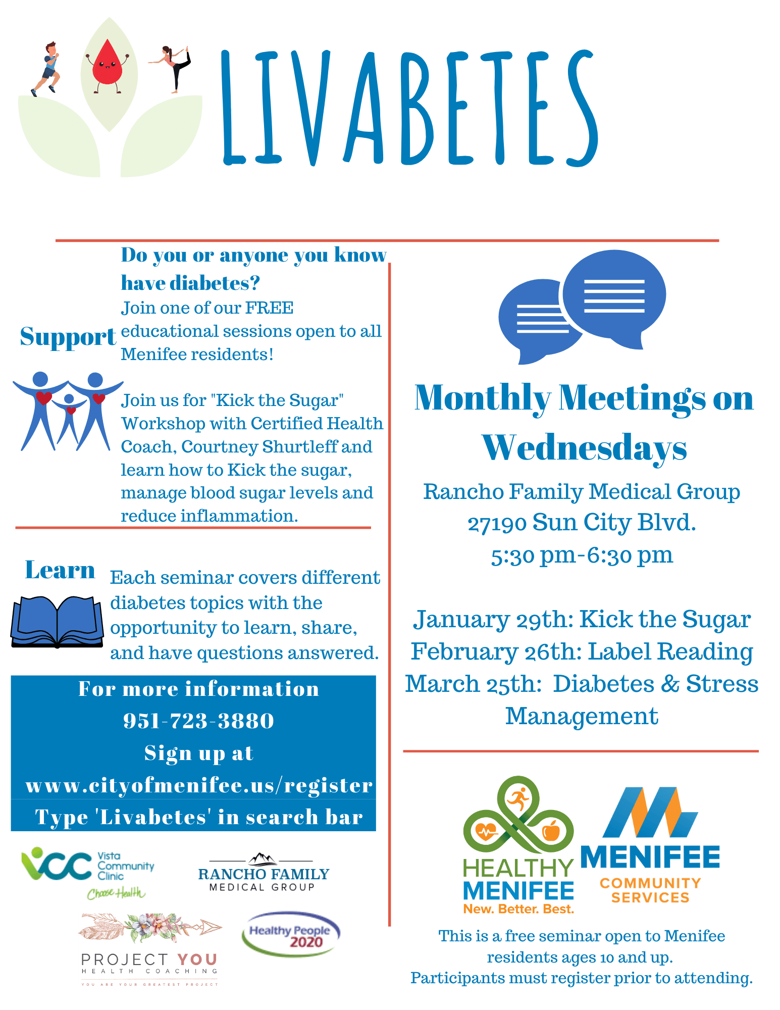Livabetes Flyer : Free Educational Seminar on Diabetes open to Menifee Residents. Registration req.