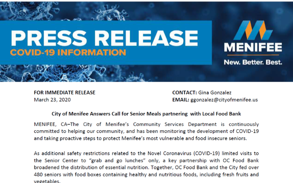 Senior Meals Press Release Image