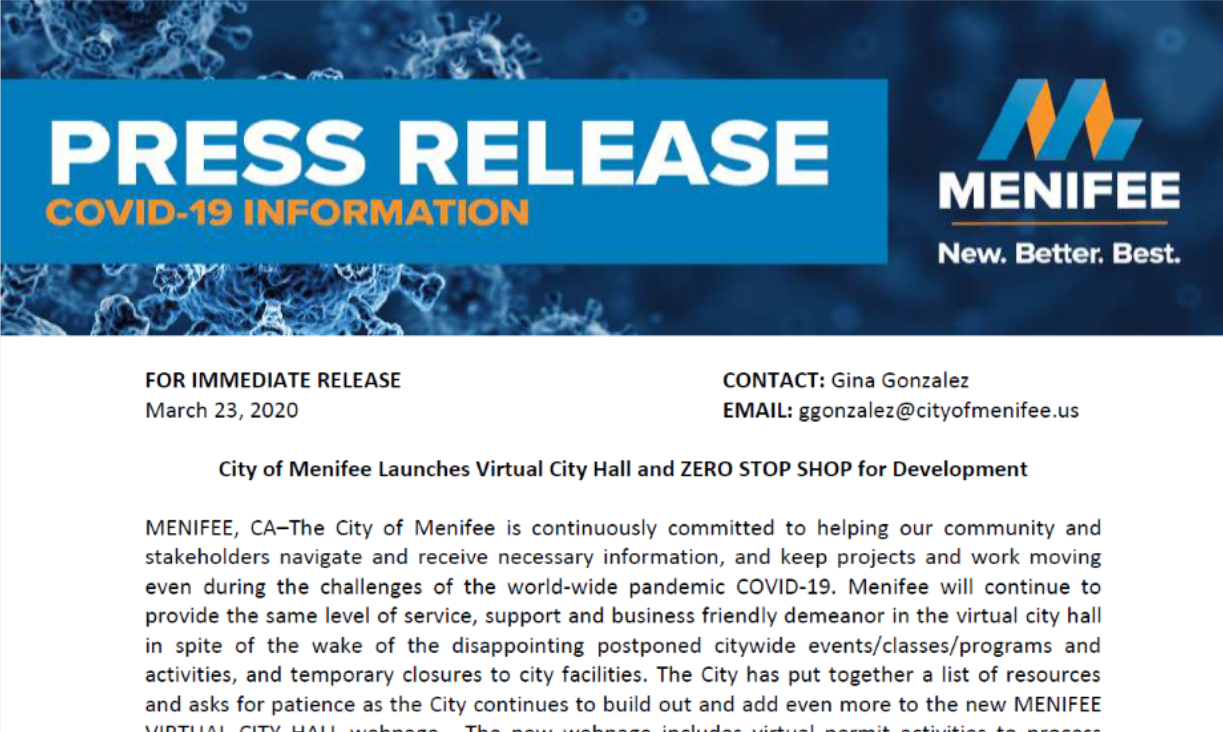 City of Menifee Virtual City Hall Press Release Image